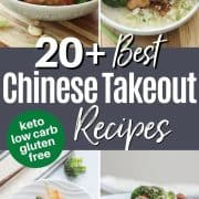 Pinterest pinnable image of 4 low carb and keto chinese takout recipes - Cashew Chicken, Shrimp Fry, Mongolian Beef, and Sesame Chicken