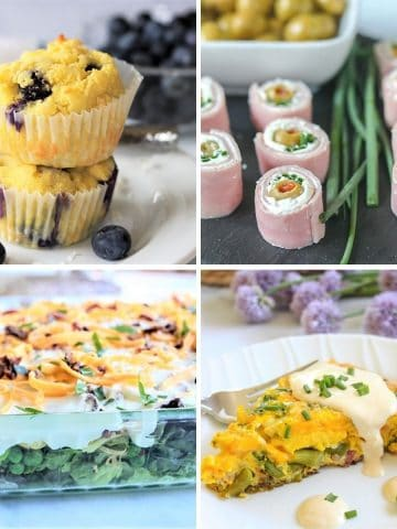 Square feature image of 4 low carb and keto mothers day brunch ideas - coconut blueberry muffins, ham roll ups, layered salad, and eggs benedict frittata