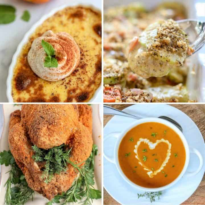 Feature image with four delicious low carb and keto recipes to make for thanksgiving.