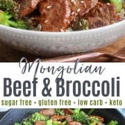 Pinterest pinnable image of mongolian beef and broccoli served in a gray bowl ready to eat and enjoy!