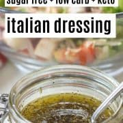 pinterest pin featuring a clear jar full of easy homemade italian dressing