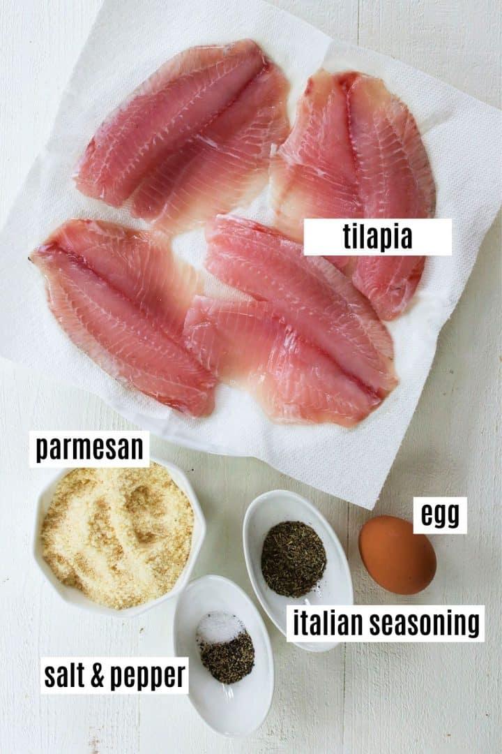 Ingredients needed for making parmesan crusted air fryer tilapia