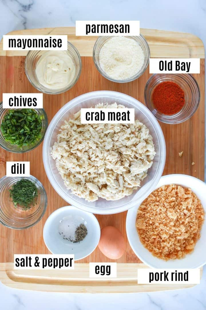 Image of ingredients needed to make crab cakes