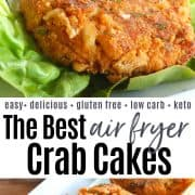 Pinterest pin with air fryer crab cakes served on a white platter