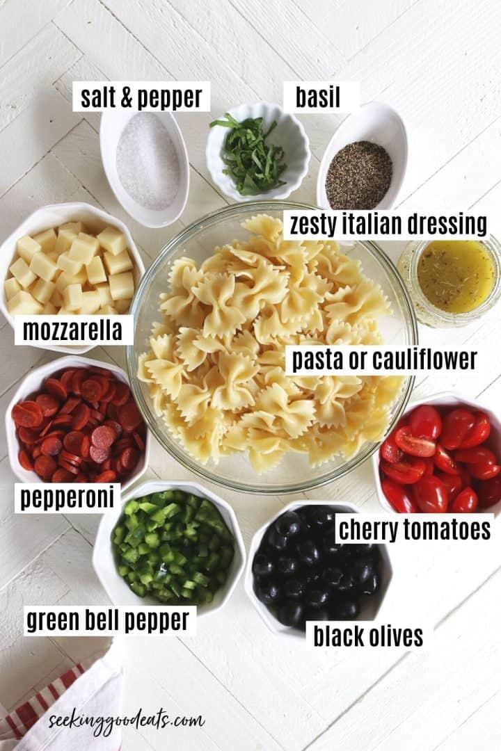 ingredients needed to make Italian pasta salad