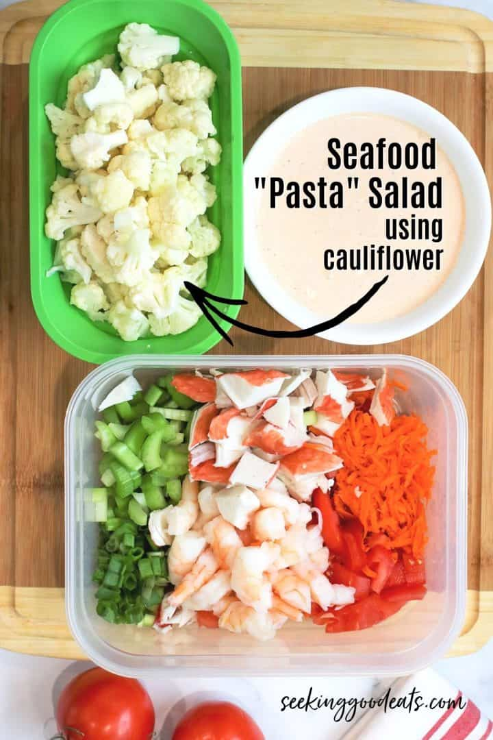 Ingredients needed for making crab and shrimp salad low carb keto
