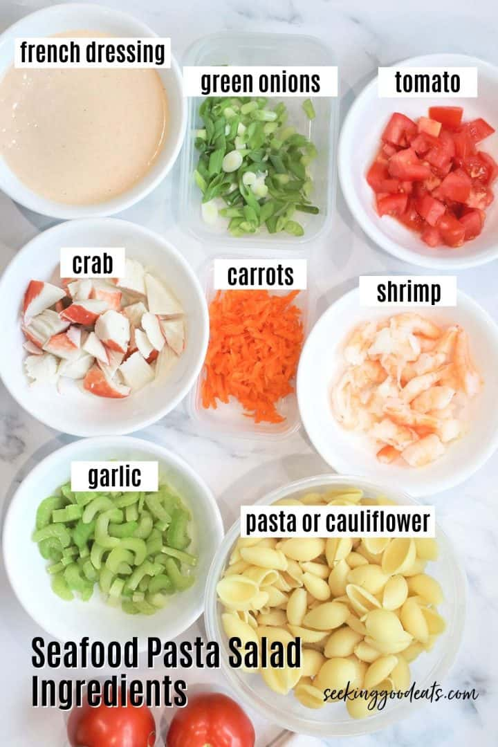 Ingredients needed for making Seafood Pasta Salad