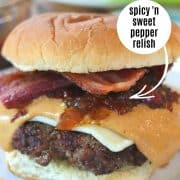 pinterest pin with a closeup shot of a peanut butter burger on a white plate