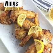 pinterest pin with an image of lemon pepper wings