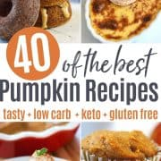 pinterest pin featuring four images of keto pumpkin recipes