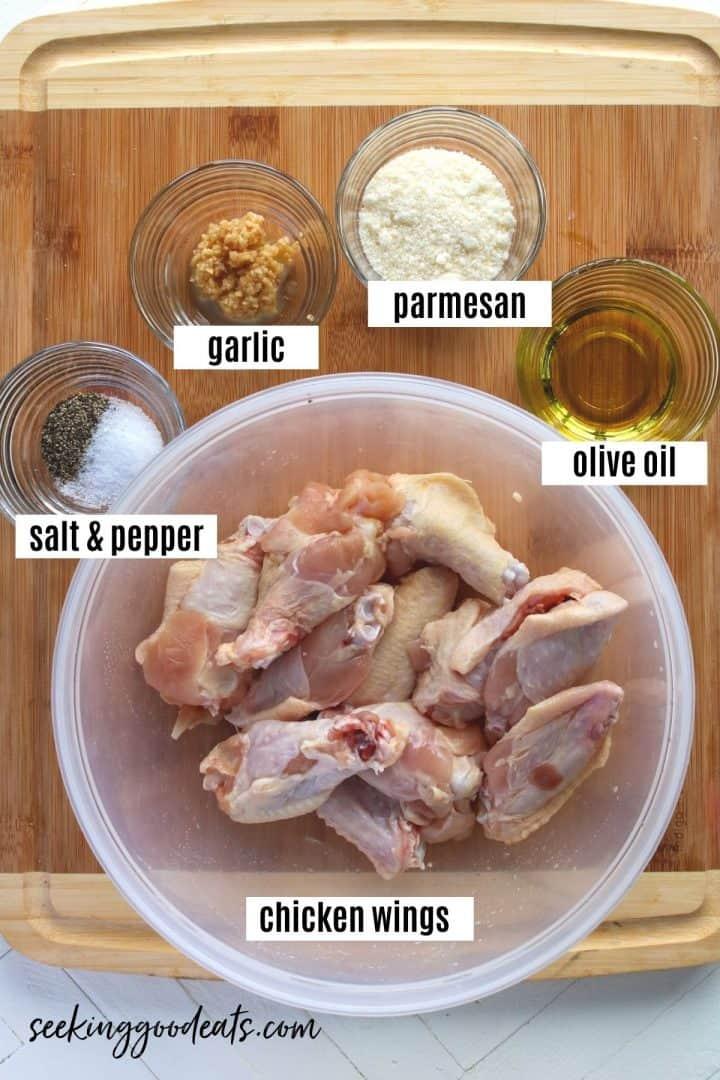 Ingredients need to make air fryer garlic parmesan chicken wings