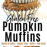 pinterest pin with two pumpkin muffins stacked on top of each other and a muffin pan full of warm muffins