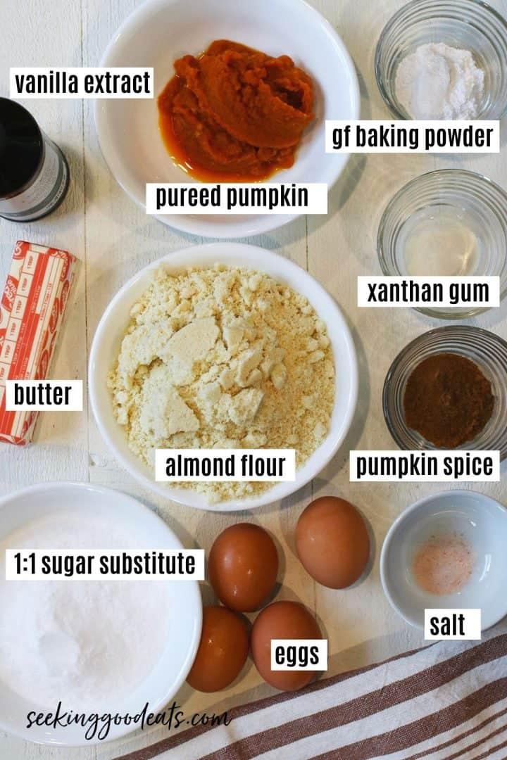 ingredients needed for making gluten free pumpkin muffins