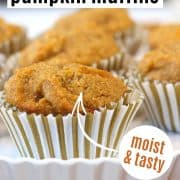 pumpkin muffins served on a white fluted tray