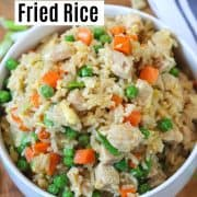 pinterest pin with a single image of chicken fried rice in a white bowl
