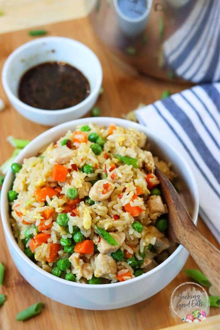 Instant Pot Chicken Fried Rice in a white bowl