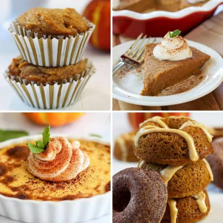 four image of keto pumpkin recipes pumpkin muffins, pumpkin pie, creme brulee, and pumpkin donuts