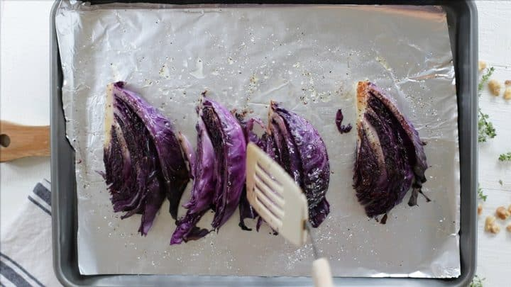 Roasting the cabbage on a foil lined baking sheet