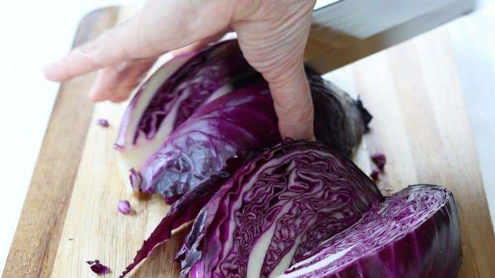 Slicing the cabbage into wedges