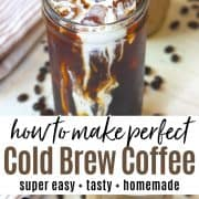 Pinterest pin with french press cold brew served over ice with cream and cold foam.