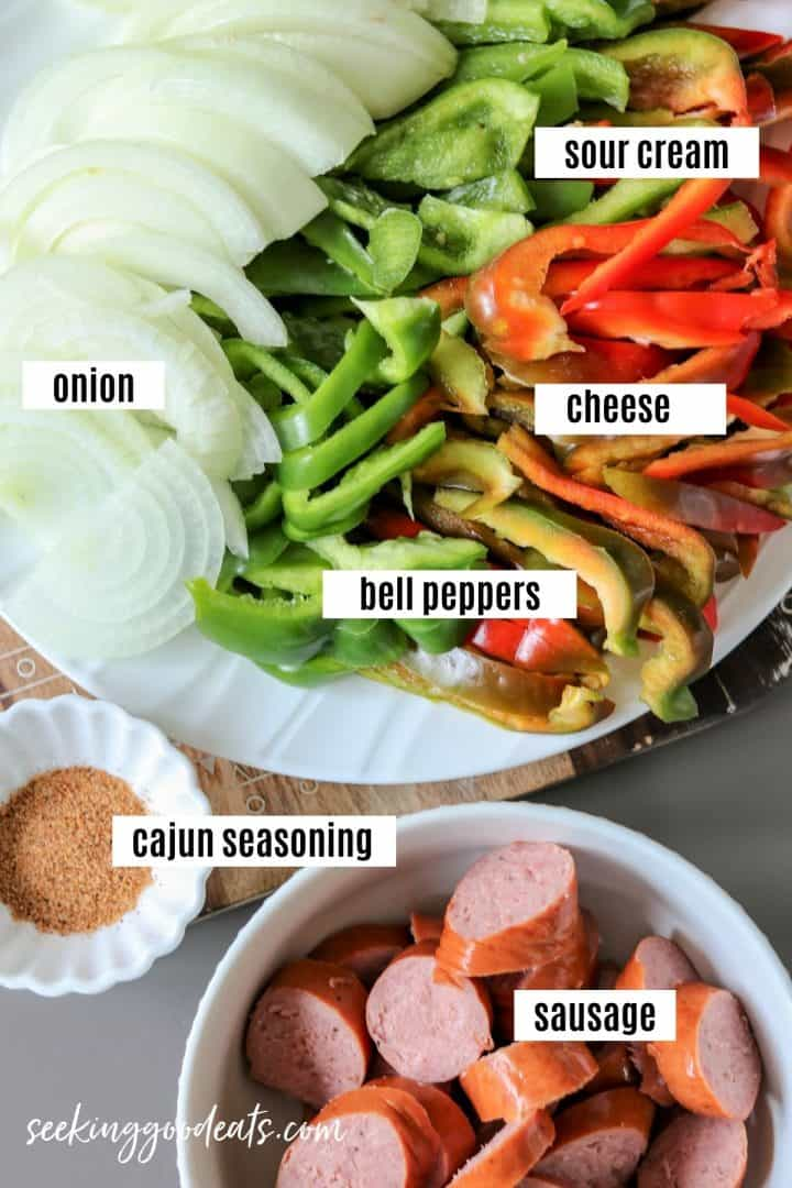 Ingredients needed to make cajun sausage and peppers