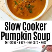 Pinterest pin with a bowl of pumpkin soup garnished with fresh herbs.