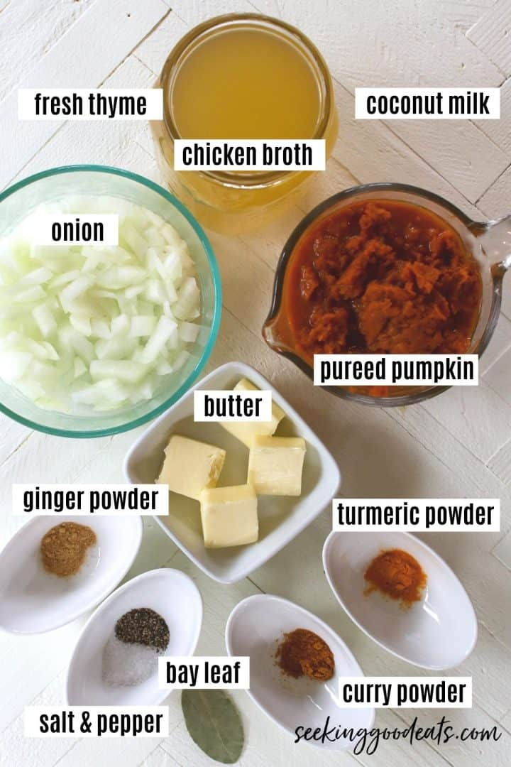 Ingredients needed to make slow cooker pumpkin soup